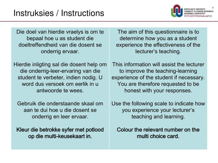 Instruksies / Instructions