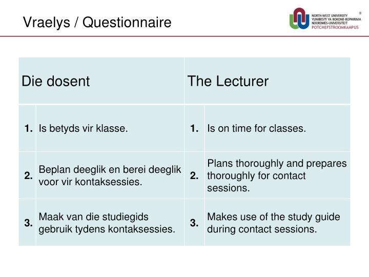 Vraelys / Questionnaire