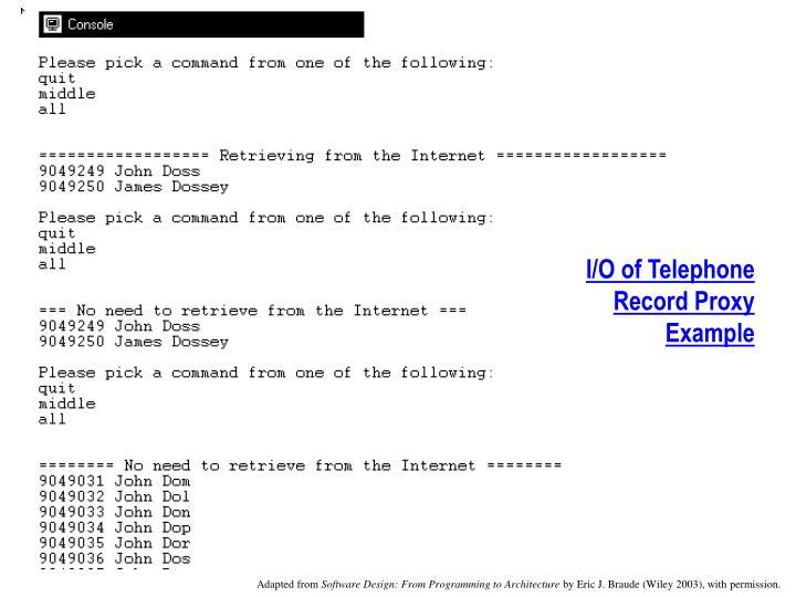 I/O of Telephone Record Proxy Example