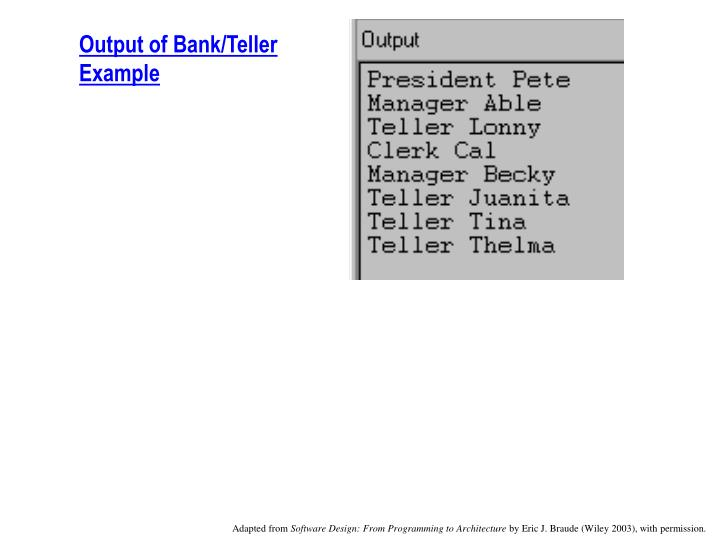 Output of Bank/Teller Example