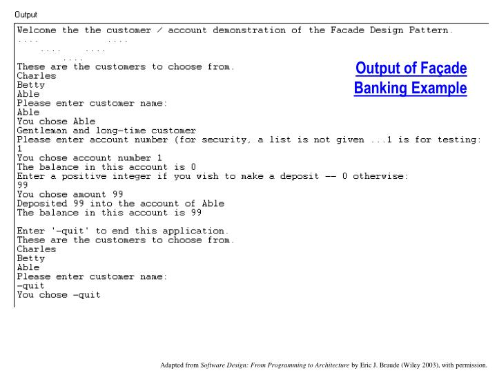 Output of Façade Banking Example