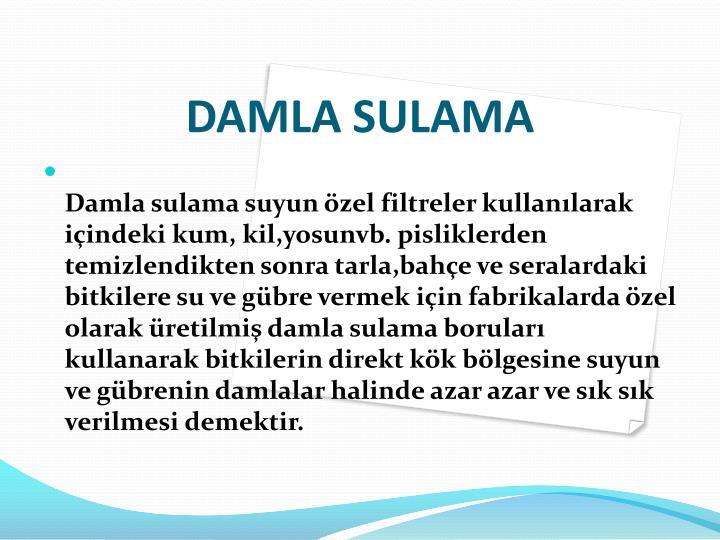 DAMLA SULAMA