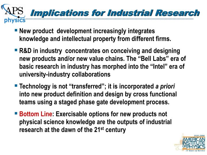Implications for Industrial Research