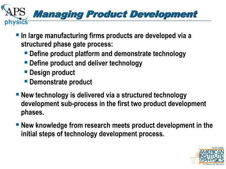 Managing Product Development