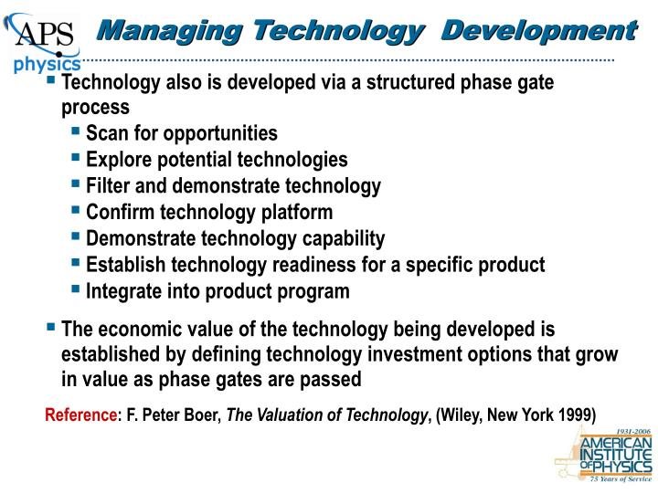 Managing Technology  Development