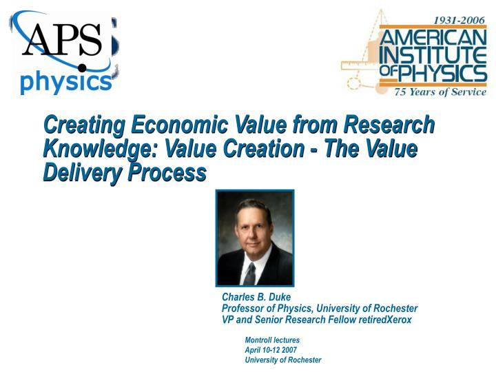 Creating Economic Value from Research Knowledge: Value Creation - The Value Delivery Process