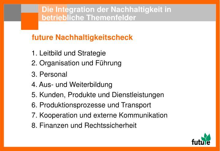 Die Integration der Nachhaltigkeit in betriebliche Themenfelder