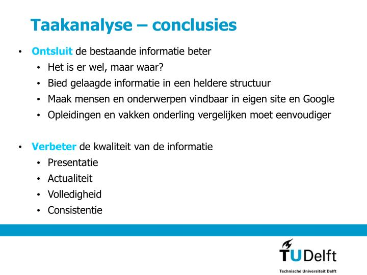 Taakanalyse – conclusies