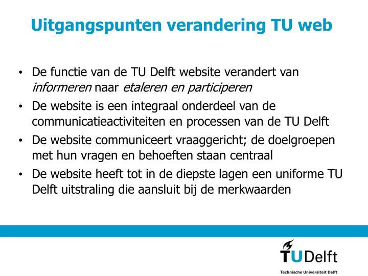 Uitgangspunten verandering TU web
