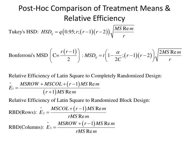 Post-Hoc Comparison of Treatment Means & Relative Efficiency