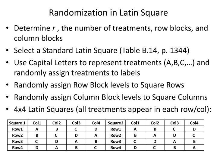 Randomization in Latin Square