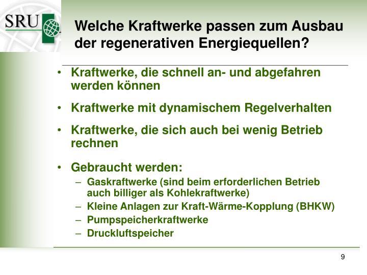 Welche Kraftwerke passen zum Ausbau der regenerativen Energiequellen?