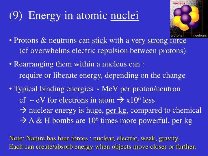 (9)  Energy in atomic