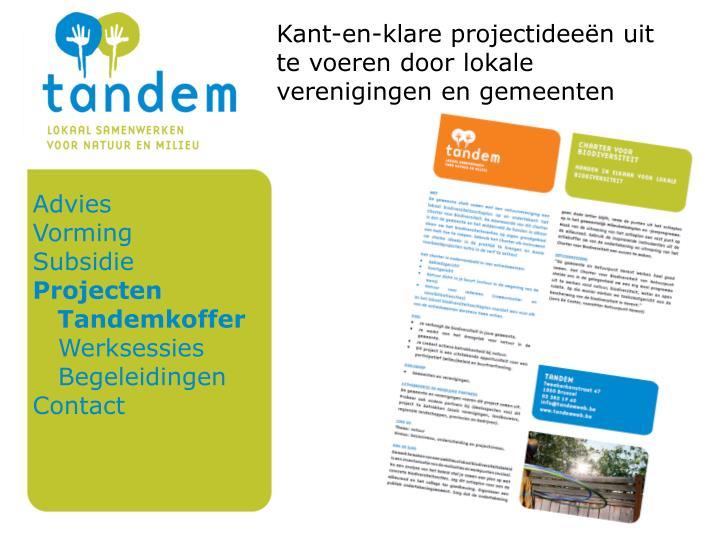 Kant-en-klare projectideeën uit te voeren door lokale verenigingen en gemeenten