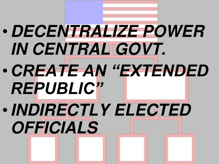DECENTRALIZE POWER IN CENTRAL GOVT.