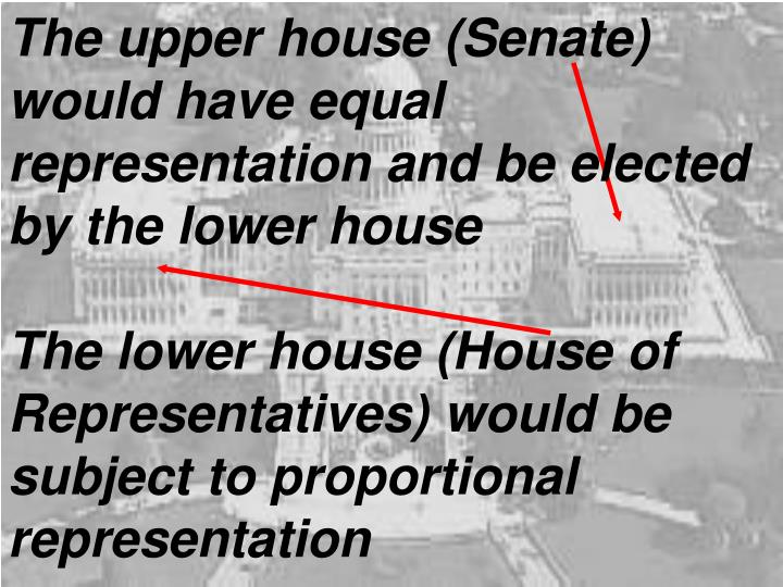 The upper house (Senate) would have equal representation and be elected by the lower house