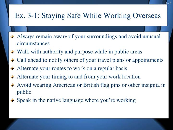 Ex. 3-1: Staying Safe While Working Overseas