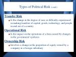 types of political risk contd