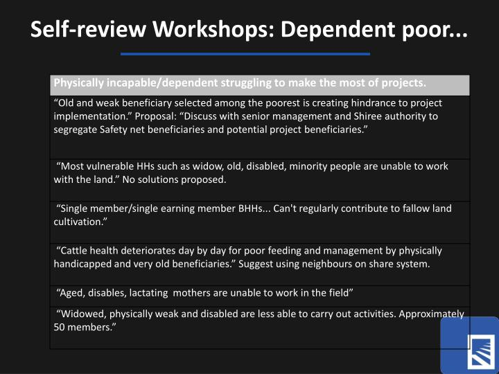 Self-review Workshops: Dependent poor...