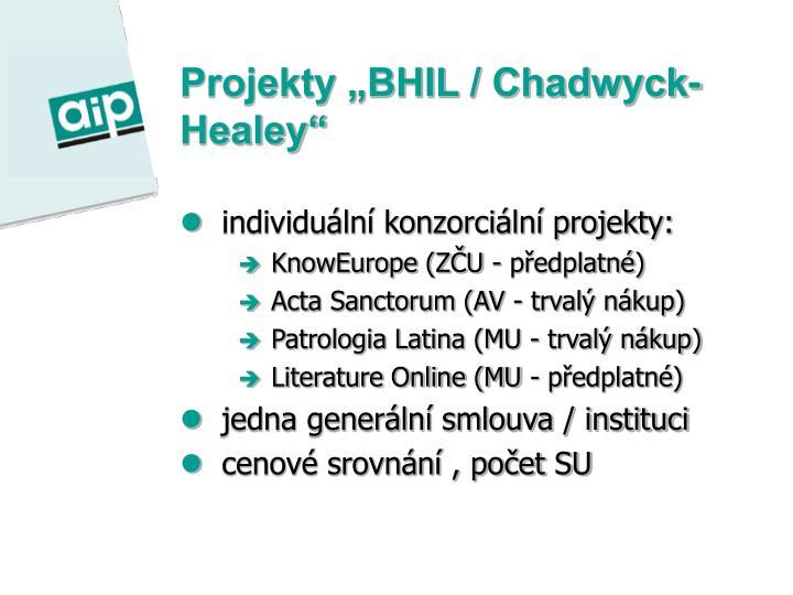"""Projekty """"BHIL / Chadwyck-Healey"""""""