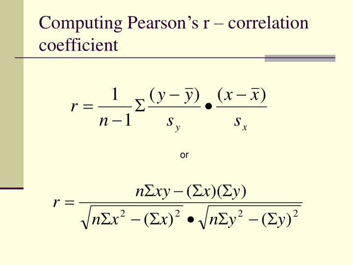 correlation coefficient formula essay Correlation coefficient measures the degree to which two variables move together its value ranges between -1 and 1 -1 indicates perfectly negative relationship, 1 shows a perfectly.