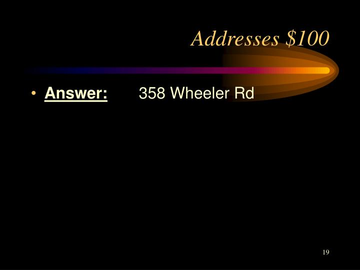Addresses $100