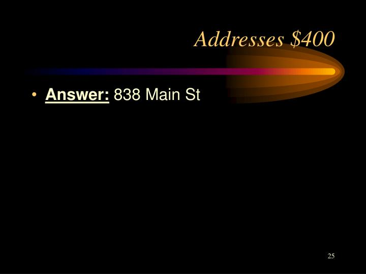 Addresses $400
