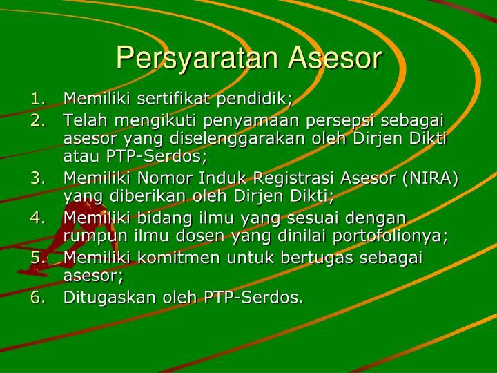 Persyaratan Asesor