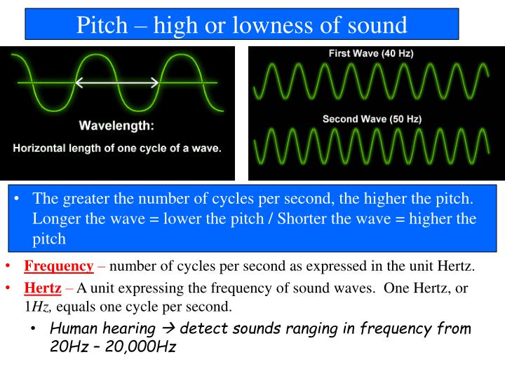 Pitch – high or lowness of sound