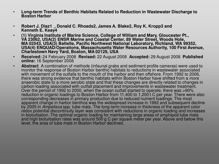 Long-term Trends of Benthic Habitats Related to Reduction in Wastewater Discharge to Boston Harbor