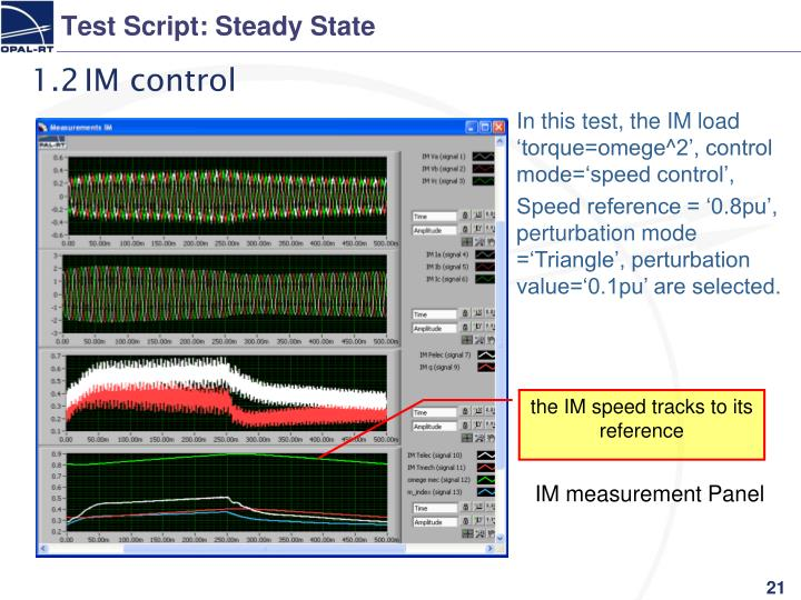 Test Script: Steady State