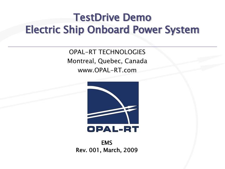 Testdrive demo electric ship onboard power system