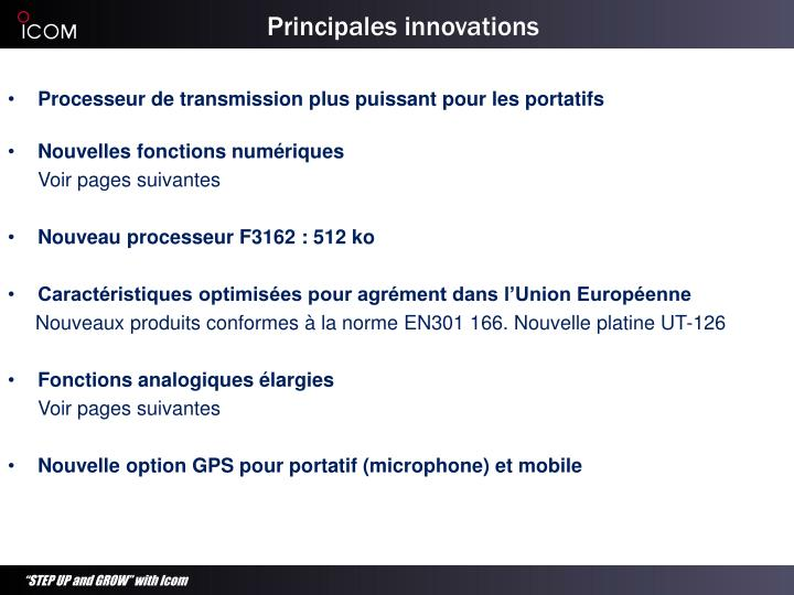 Principales innovations