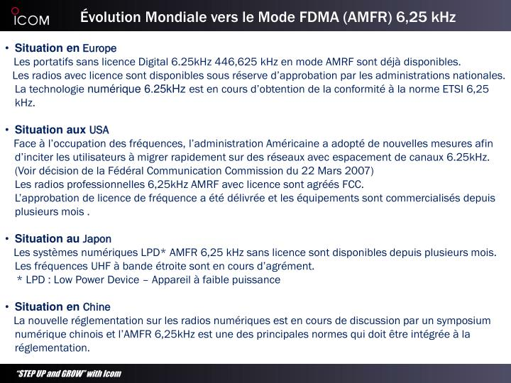 Volution mondiale vers le mode fdma amfr 6 25 khz