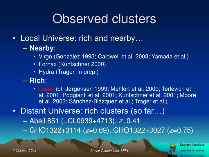 Observed clusters