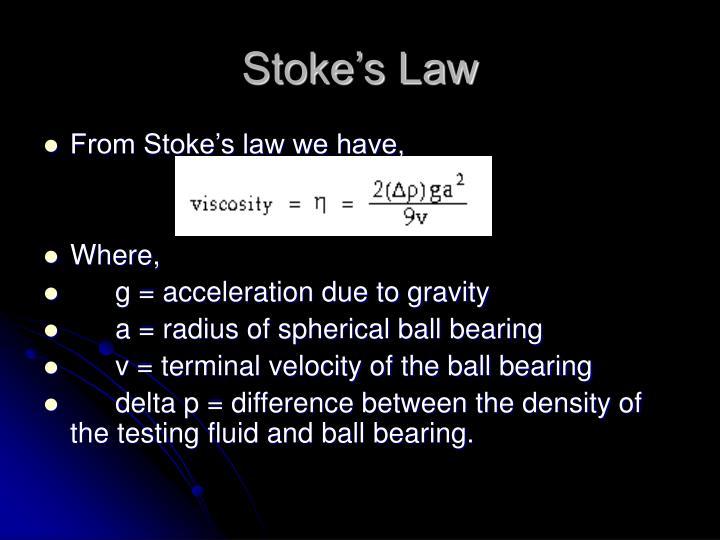 Stoke's Law