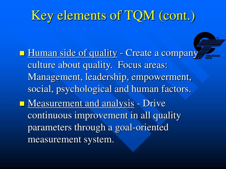 Key elements of TQM (cont.)