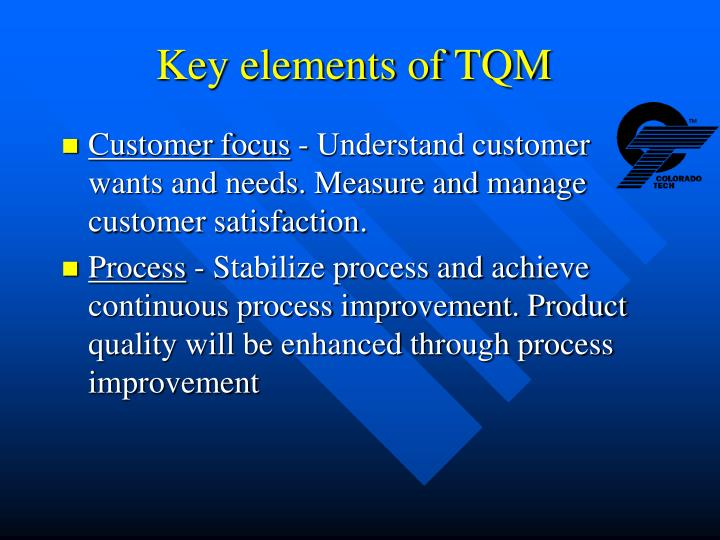 Key elements of TQM