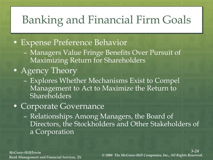 Banking and Financial Firm Goals
