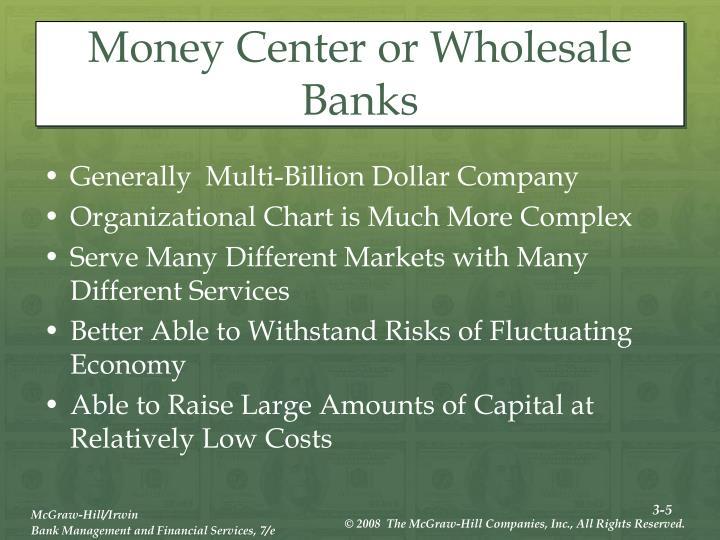 Money Center or Wholesale Banks
