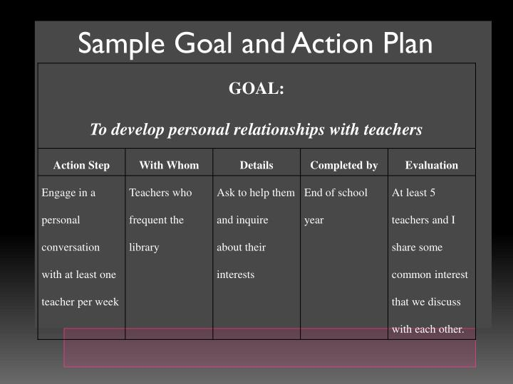 Sample Goal and Action Plan