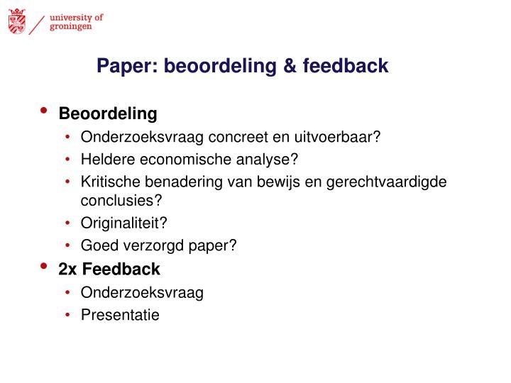 Paper: beoordeling & feedback
