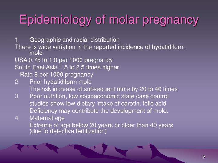 Epidemiology of molar pregnancy