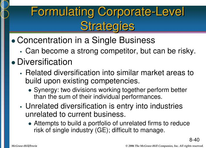 Formulating Corporate-Level Strategies