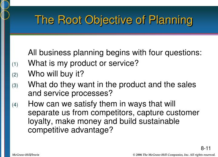 The Root Objective of Planning