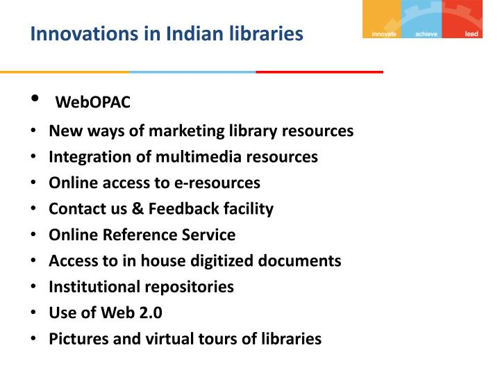 Innovations in Indian libraries