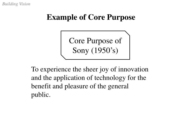 Example of Core Purpose