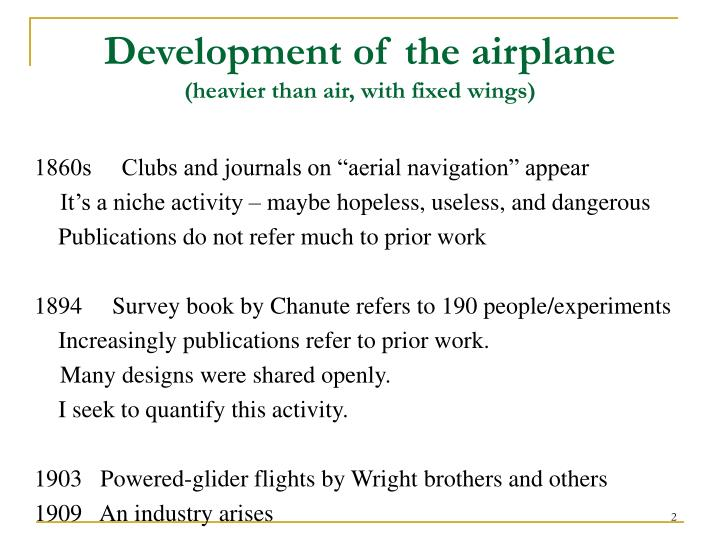 Development of the airplane heavier than air with fixed wings