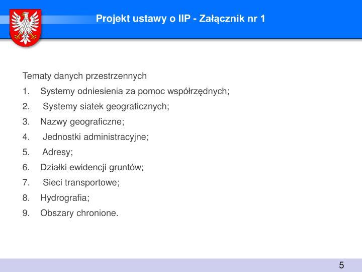 Projekt ustawy o IIP - Załącznik nr 1