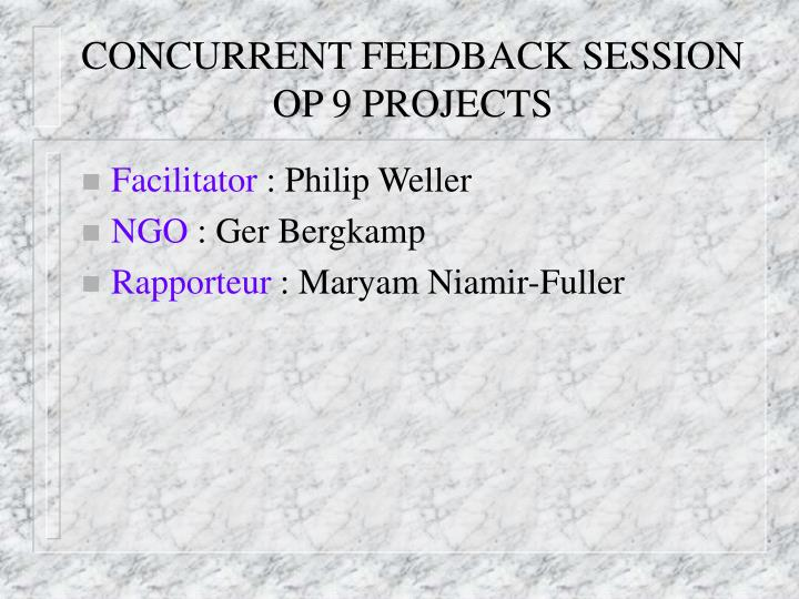 Concurrent feedback session op 9 projects